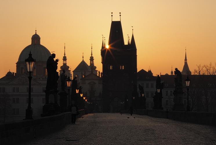 Mostecká věž - slunce