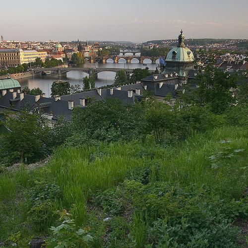 Vltavské mosty ze shora